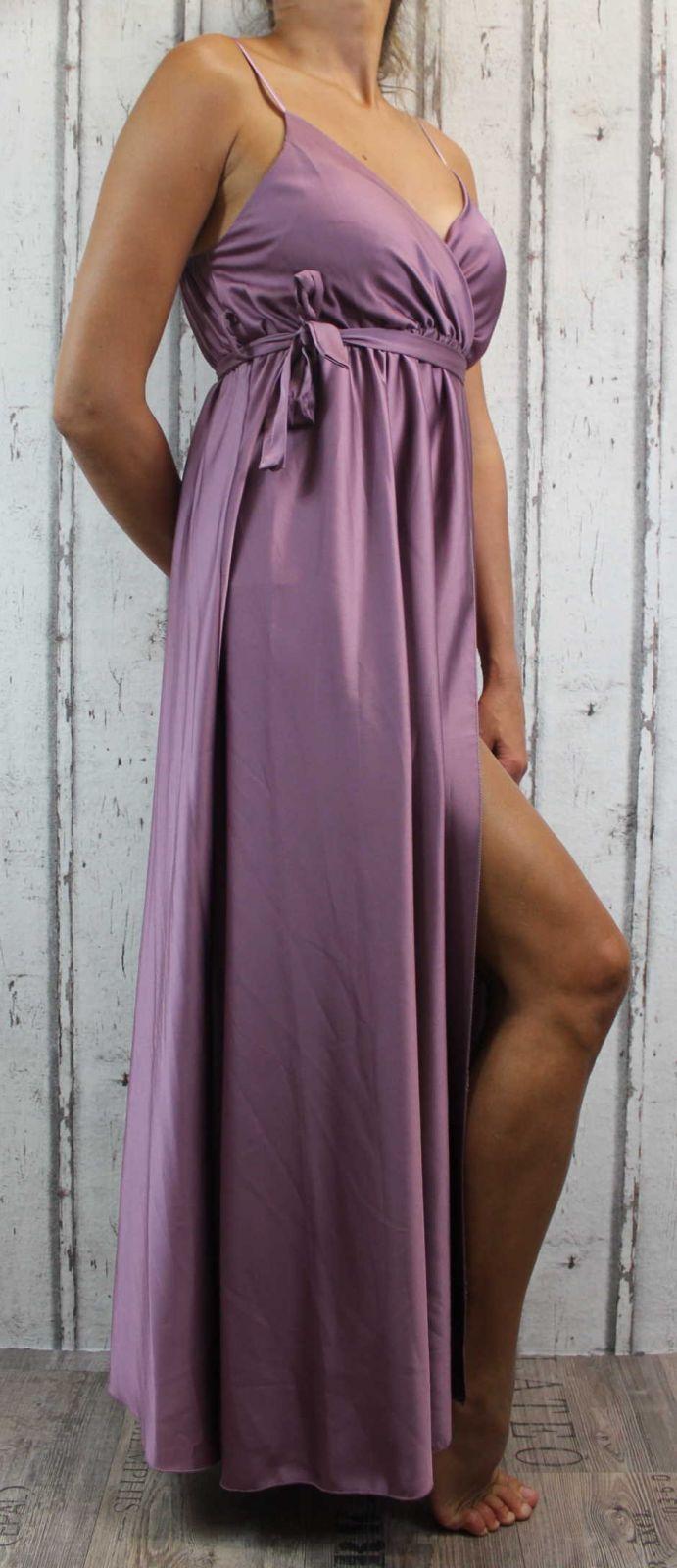 Dámské elegantní šaty, pohodlné šaty, fialové elegantní šaty, dlouhé večerní šaty, šaty na ramínka, plesové dlouhé šaty, sexy dlouhé šaty, společenské dlouhé šaty Italy Moda