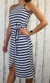 Dámské letní dlouhé šaty, plážové šaty, pohodlné šaty,  pruhované dlouhé šaty, dlouhé šaty s rozparkem, šaty na zavazování, námořnické šaty, pruhované šaty, modro-bílé šaty