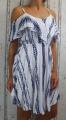 Dámské letní šaty, dámské plážové šaty, pruhované šaty, letní dámské šaty, modro-bílé šaty, letní bílé šaty