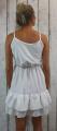 Dámské letní šaty, elegantní šaty, pohodlné šaty, bílé šaty, bílé elegantní šaty, bílé koktejlové šaty, šaty s volánem, šaty na ramínka Italy Moda
