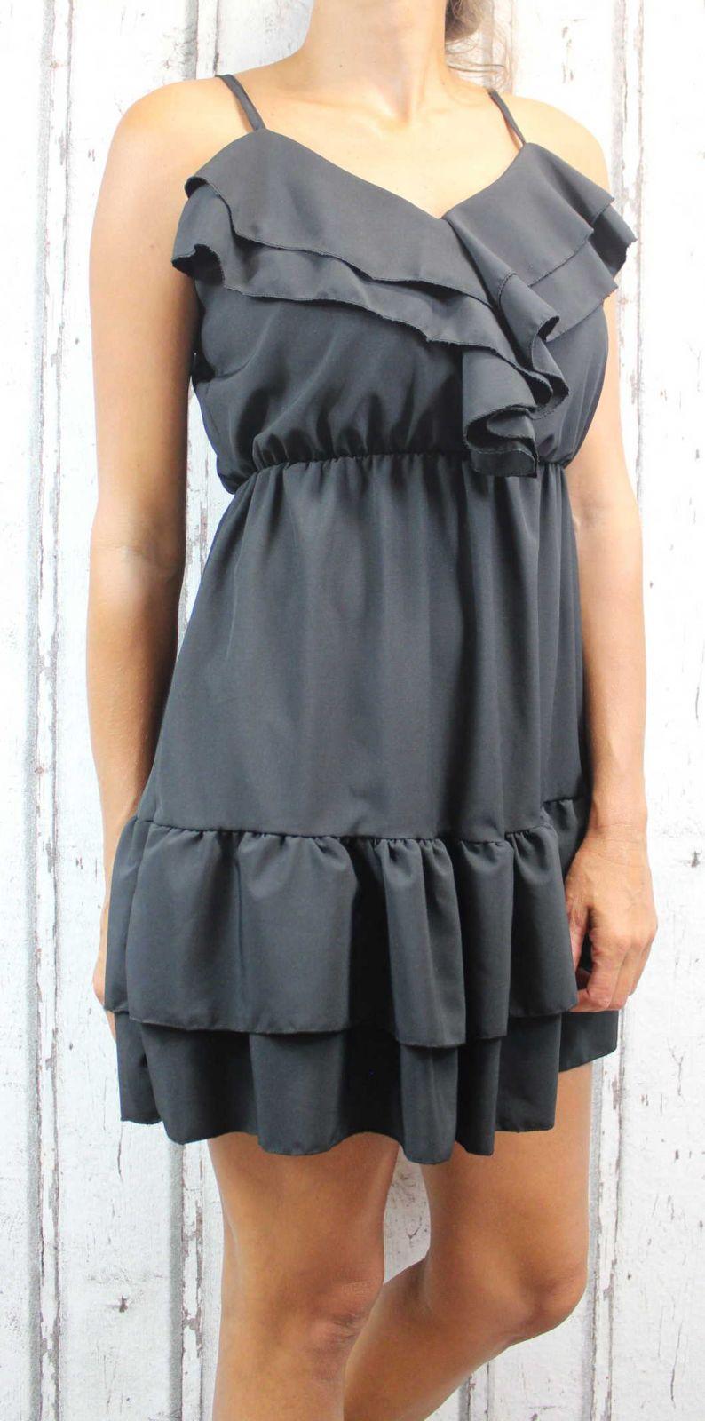 Dámské letní šaty, elegantní šaty, pohodlné šaty, černé šaty, černé elegantní šaty, černé koktejlové šaty, šaty s volánem, šaty na ramínka Italy Moda