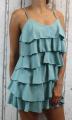 Dámské letní šaty, elegantní šaty, pohodlné šaty, mintové elegantní šaty, zelené koktejlové šaty, šaty s volány, šaty na ramínka Italy Moda