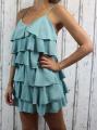 Dámské letní šaty, elegantní šaty, pohodlné šaty, mintové elegantní šaty, zelené koktejlové šaty, šaty s volány, šaty na ramínka