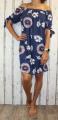 Dámské letní šaty, plážové šaty, dámská tunika, pohodlné šaty dámské šaty volný střih, šaty přes ramena, kytkované šaty, modré šaty