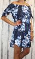 Dámské letní šaty, plážové šaty, dámská tunika, pohodlné šaty dámské šaty volný střih, šaty přes ramena, kytkované šaty, tmavě modré