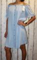 Dámské letní šaty, plážové šaty, dámská tunika, pohodlné šaty dámské šaty volný střih, bavlněné šaty přes ramena modré, džínové volné šaty, lehké šaty vzhled džínoviny, světlé džínové šaty Italy Moda