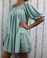 Dámské letní šaty, plážové šaty, dámská tunika, pohodlné šaty, dámské volné šaty, volná tunika, dámské oversize šaty, šaty áčkový střih, mintové oversize šaty, žebrované šaty