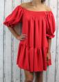 Dámské letní šaty, plážové šaty, dámská tunika, pohodlné šaty, dámské volné šaty, volná tunika, dámské oversize šaty, šaty áčkový střih, červené oversize šaty, žebrované šaty