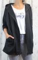 Dámské sako, dámský bavlněný kardigan, černý dámský teplákový kardigan, dámská dlouhá mikina, černá dlouhá mikina