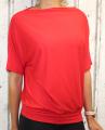Dámské tričko krátký rukáv, tričko spadlá ramena, dámské volné triko, dámské červené tričko