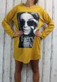 Dámská dlouhá mikina, bavlněná tunika, mikinové šaty, dámská trendy mikina, dlouhá mikina, dámské šaty, dámská tunika, žlutá dlouhá mikina