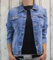 Dámská džínová bunda modrá, letní džínová bunda, džínová elastická bunda, modrá džínová bundička, modrá džíska, jarní džíska