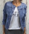Dámská džínová bunda modrá, letní džínová bunda, džínová elastická bunda, džínová bunda, moderní džínová bunda,  modrá  džíska, džínová bunda bez límce   M, XL, 2XL, 3XL