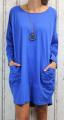 Dámské podzimní šaty, volné šaty, dámská tunika, pohodlné šaty, dámské šaty volný střih, modré šaty, modré volné šaty, bavlněné šaty s dlouhým rukávem