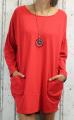 Dámské podzimní šaty, volné šaty, dámská tunika, pohodlné šaty, dámské šaty volný střih, červené šaty, červené volné šaty, bavlněné šaty s dlouhým rukávem