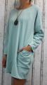 Dámské podzimní šaty, volné šaty, dámská tunika, pohodlné šaty, dámské šaty volný střih, mintové šaty, zelené volné šaty, bavlněné šaty s dlouhým rukávem