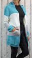 Dámské sako, dámský kardigan, pletený kardigan, dámský dlouhý svetr, dlouhý pletený kardigan, dámský svetr, zeleno-šedý dlouhý svetr