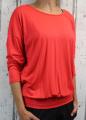 Dámské tričko dlouhý rukáv, tričko spadlá ramena, dámské volné triko, dámské červené triko