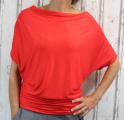 Dámské tričko krátký rukáv, tričko spadlá ramena, dámské volné triko, volné červené tričko