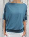 Dámské tričko krátký rukáv, tričko spadlá ramena, dámské volné triko, kovově zelené volné tričko, široké tričko