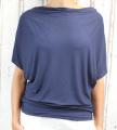 Dámské tričko krátký rukáv, tričko spadlá ramena, dámské volné triko, volné tmavě modré tričko