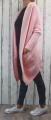 Dámský dlouhý pletený kardigan, dámský dlouhý svetr, dlouhý růžový kardigan, dlouhý růžový svetr