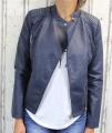 dámská koženková bunda, modrá bunda z imitace kůže, dámská bundička, kožená bunda, modrá jarní bunda, podzimní koženková bunda, modrý křivák, modrá bunda | S, M, L, XXL