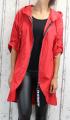Dámská šusťáková parka, dámský šusťákový kabátek, jarní bunda, šusťáková bunda, jarní parka, šusťákový kabát, červená jarní parka, podzimní jarní kabát, podzimní červený kabát, šusťákový červený kabát, dlouhá šusťáková bunda, dlouhý slabý kabát