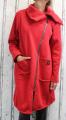 Dámská teplá mikina, dámská oversize mikina, červená dlouhá mikina, dámský teplý kabát, dámský zateplený kabát, vyteplená mikina, dámský kabát s velkým límcem, červený dlouhý kabát, teplá dlouhá mikina, oversize kabát
