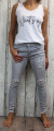 dámské elastické džíny, džíny slimky, dívčí slimky, dívčí elastické džíny, krátké džíny, šedé džíny, džíny skiny, trhané šedé džíny, krátké džíny | XS/26, S/27, S-M/28, M-L/30, L/31