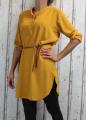 Dámské příjemné šaty, dámská tunika, pohodlné šaty, nemačkavé šaty, šaty s rozparky, šaty s páskem, dámské žluté šaty, šaty na zavazování