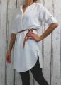 Dámské příjemné šaty, dámská tunika, pohodlné šaty, nemačkavé šaty, šaty s rozparky, šaty s páskem, dámské bílé šaty, šaty na zavazování