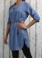 Dámské příjemné šaty, dámská tunika, pohodlné šaty, nemačkavé šaty, šaty s rozparky, šaty s páskem, dámské modré šaty, šaty na zavazování