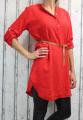 Dámské příjemné šaty, dámská tunika, pohodlné šaty, nemačkavé šaty, šaty s rozparky, šaty s páskem, dámské červené šaty, šaty na zavazování