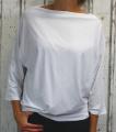 Dámské tričko dlouhý rukáv, tričko spadlá ramena, dámské volné triko, bílé volné tričko, široké tričko, tričko s rantlem, triko netopýří střih