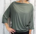 Dámské tričko dlouhý rukáv, tričko spadlá ramena, dámské volné triko, khaki volné tričko, široké tričko, tričko s rantlem, triko netopýří střih
