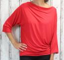Dámské tričko dlouhý rukáv, tričko spadlá ramena, dámské volné triko, červené volné tričko, široké tričko, tričko s rantlem, triko netopýří střih