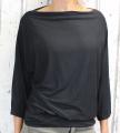 Dámské tričko dlouhý rukáv, tričko spadlá ramena, dámské volné triko, černé volné tričko, široké tričko, tričko s rantlem, triko netopýří střih