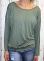 Dámské tričko dlouhý rukáv, tričko spadlá ramena, dámské volné triko, dámské zelené triko, khaki tričko