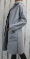 Dámský fleesový kabát, dámský kabátek, jarní kabát, podzimní kabát, dámský šedý dlouhý kabát, šedý fleesový kabát, dlouhý slabý kabát