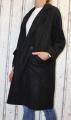 Dámský fleesový kabát, dámský kabátek, jarní kabát, podzimní kabát, dámský černý dlouhý kabát, černý fleesový kabát, dlouhý slabý kabát, kabát s podšívkou, kabát na knoflík, oversize kabát | M, L, XL