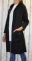 Dámský fleesový kabát, dámský kabátek, jarní kabát, podzimní kabát, dámský černý dlouhý kabát, černý fleesový kabát, dlouhý slabý kabát