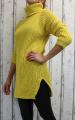 Dámský svetr, dámský oversize svetr, dámský dlouhý svetr, dlouhý teplý rolák, dlouhý žlutý svetr, teplý svetr, svetr s rolákem, dámský žlutý rolák, dlouhý hořčicový svetr