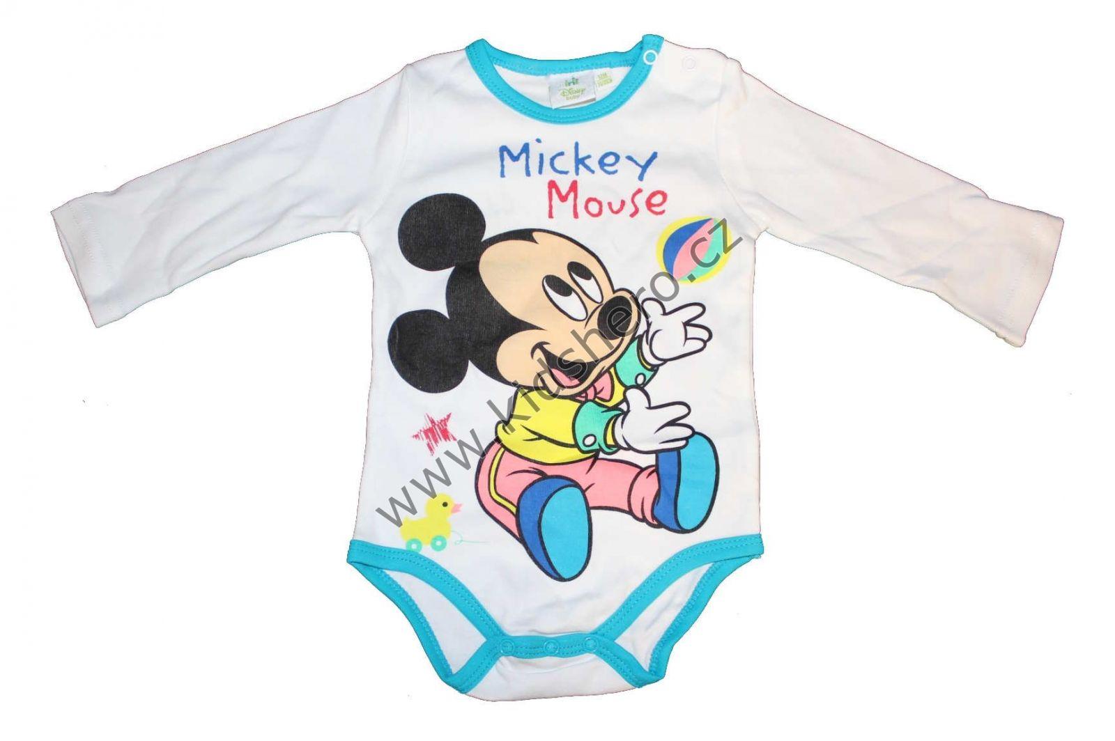 Body dlouhý rukáv MICKEY MOUSE - bílé Disney