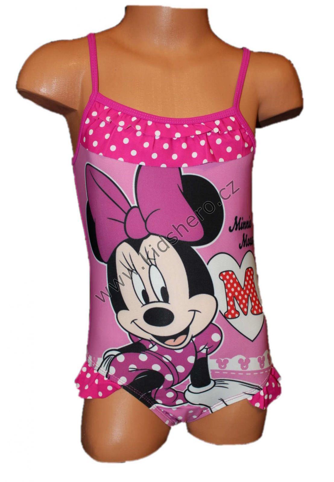 Jednodílné plavky MINNIE - tm.růžové Disney