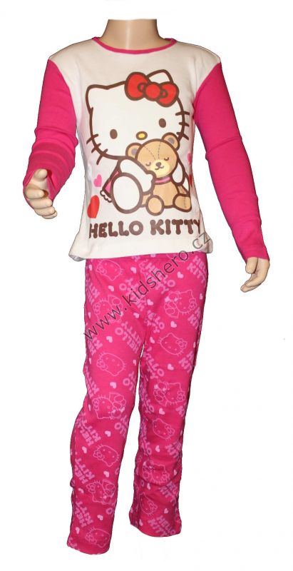 PYŽAMO - HELLO KITTY - bílo-růžové Sanrio