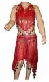 Kostým břišní tanečnice s flitry - červený