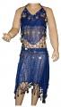 Kostým břišní tanečnice s flitry - tm.modrý