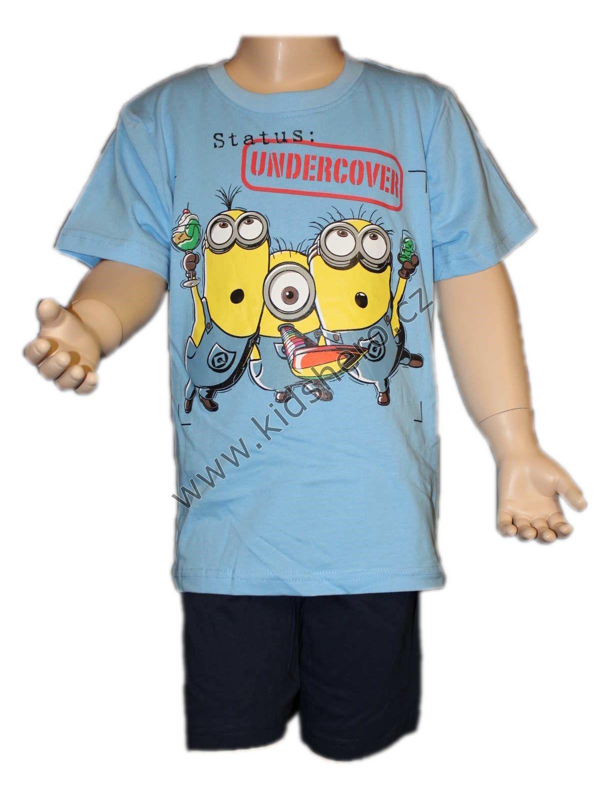 Dětský letní set triko tričko kraťasy dětské krátké pyžamo Mimoni chlapecké licenční Despicable Me
