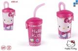 Plastová láhev na pití s brčekm Hello Kitty